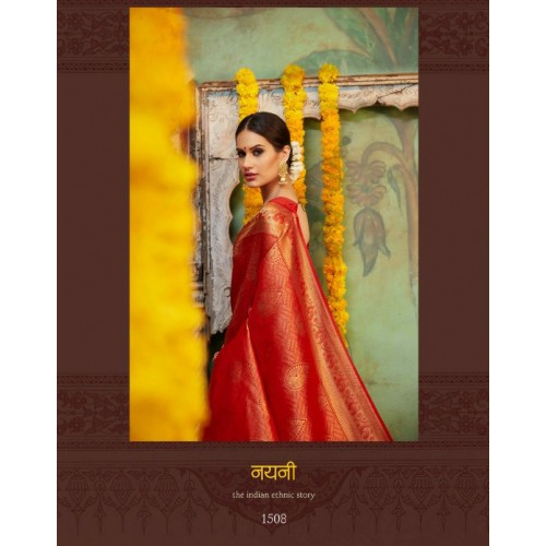 New Latest Designer Silk Saree with gold Printed peacock Motifs