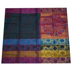 Soft Silk Saree with Multi coloured Lotus Design