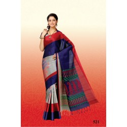 Soft Silk Saree with Peacock Design on Silver Tone