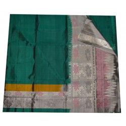Soft Silk Saree with Silver coated Floral Design