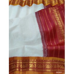 Gadwal pure handwoven cotton saree with white&red combination-GC001