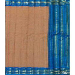 Gadwal pure handwoven cotton saree with light brown&sky blue