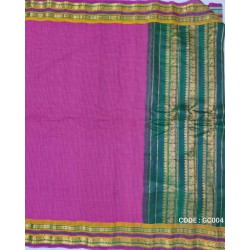 Gadwal pure handwoven cotton saree with pink&green combination