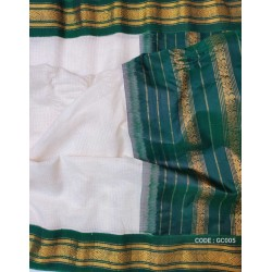 Gadwal pure handwoven cotton saree with white&green combination