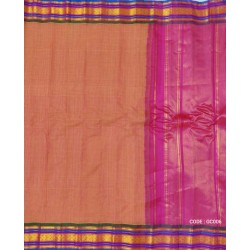 Gadwal pure handwoven cotton saree with onion pink&multi colored combination