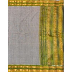 Gadwal pure handwoven cotton saree with grey &light green combination