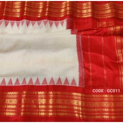 Gadwal pure handwoven cotton saree with white&red combination