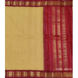 Gadwal pure handwoven cotton saree with yellow&red combination