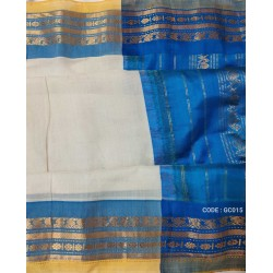 Gadwal pure handwoven cotton saree with white& blue combination
