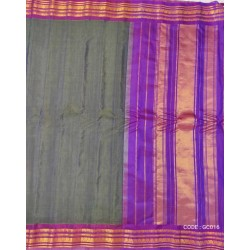 Gadwal pure handwoven cotton saree with grey&purple combination