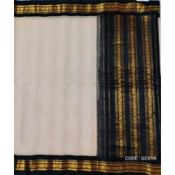 Gadwal pure handwoven cotton saree with Cream&black combination