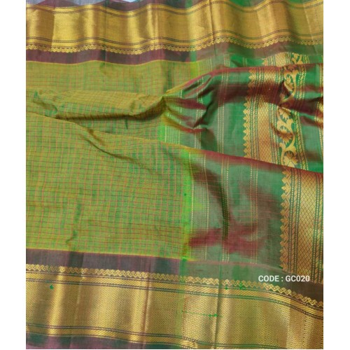 Gadwal pure handwoven cotton saree with green with maroon shade combination