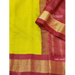 Gadwal pure handwoven cotton saree with yellow with red combination