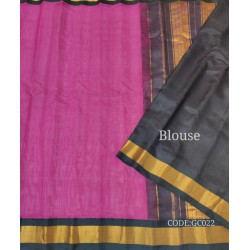 Gadwal pure handwoven cotton saree with pink&black combination
