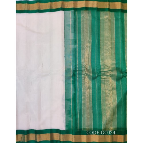 Gadwal pure handwoven cotton saree with white&dark green combination-GC024