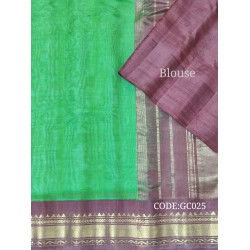 Gadwal pure handwoven cotton saree with green&purple combination