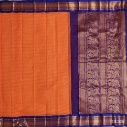 Gadwal pure handwoven cotton saree with Orange&Blue combination