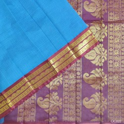 Gadwal pure handwoven cotton saree with blue&Red combination