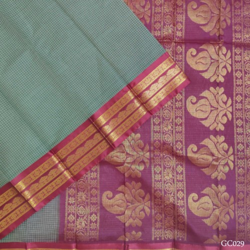Gadwal pure handwoven cotton saree with Grey& Red combination