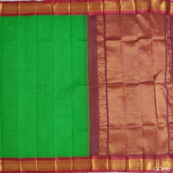 Gadwal pure handwoven cotton saree with green&Maroon combination
