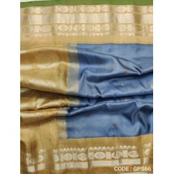 Gadwal Pure Silk Full Silver Grey with Creem - GPS664