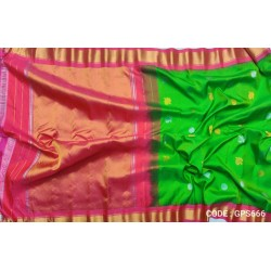 Gadwal Pure Silk Full Motifs Parrot Green with Red Pink- GPS666