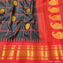 Gadwal Pure Silk checks & kuttu border-GPS671