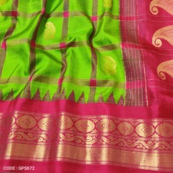 Gadwal Pure Silk checks & kuttu border-GPS672