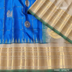 Gadwal Pure Silk Cheks Temple border - GPS679