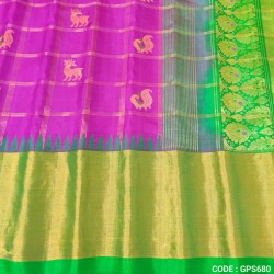 Gadwal Pure Silk Cheks Temple border - GPS680