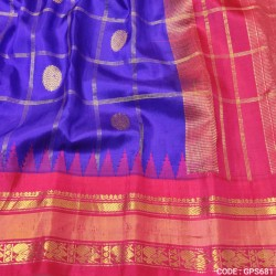 Gadwal Pure Silk Cheks Temple border - GPS681