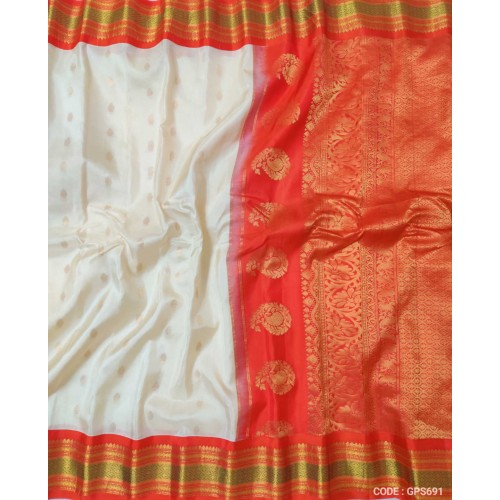 Gadwal Pure Silk Full Motifs White with red - GPS691