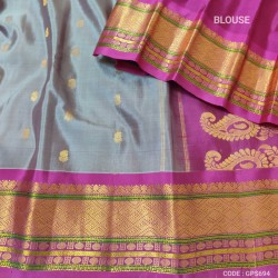 Gadwal Pure Silk Full Motifs grey with purple - GPS694