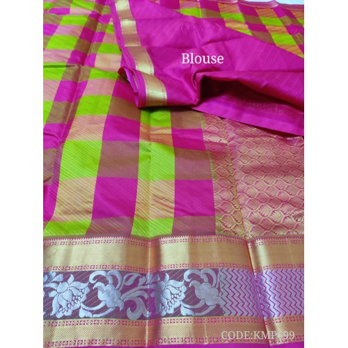 Gorgeous light weight kanchipuram handwoven saree with checks.