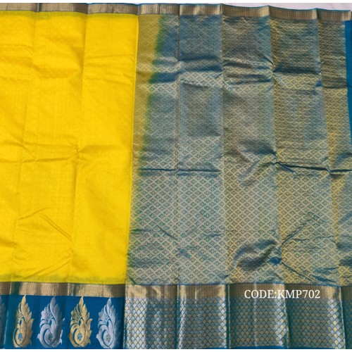 Latest light weight  kanchi pattu saree with big motifs border.