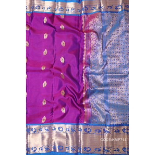 Attractive Kanchipuram Light Weight Saree with bird motifs