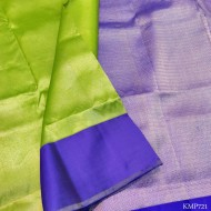 Kanchi pure Silk full zari by zari with attractive light green & blue combination