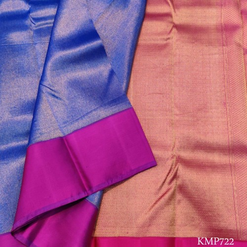 Kanchi pure Silk full zari by zari with attractive blue & pink combination
