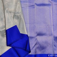 Kanchi pure Silk full zari by zari with attractive white & blue combination