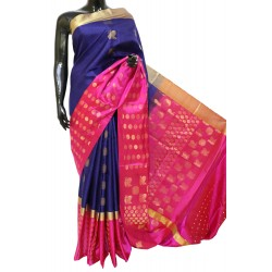 Soft Silk Saree with Broad border along Circular Motifs