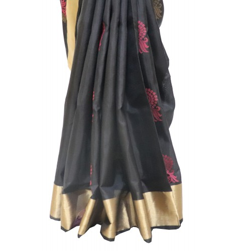 Light weight soft silk Black Continuation blouse