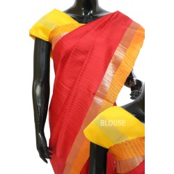 Light weight Soft silk Plain Lines Red with Yellow