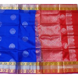 Beautifull Soft Silk Saree with Flower Designed Motifs-LSS022