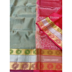 Beautifull Soft Silk Saree with Flower Designed Motifs-LSS023