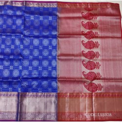 Good Looking Soft Silk Saree with small checks&flower motifs with silver zari