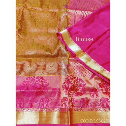 Attractive Soft Silk Saree with Peacock & elephants printed border