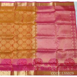 Attractive Soft Silk Saree with Peacock & elephants printed border-LSS029