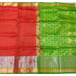 Soft Silk Saree with Broad border along Hamsa Motifs with silver zari border