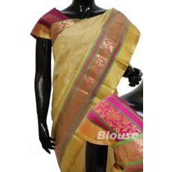 White Kanchi Pattu Butta Rich Border Pallu