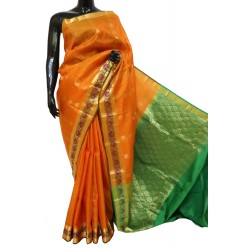 yellow-orange Kanchi Pattu Butta Rich Border Pallu